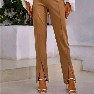 Oak & Fort Beige Front Split Hem Pants